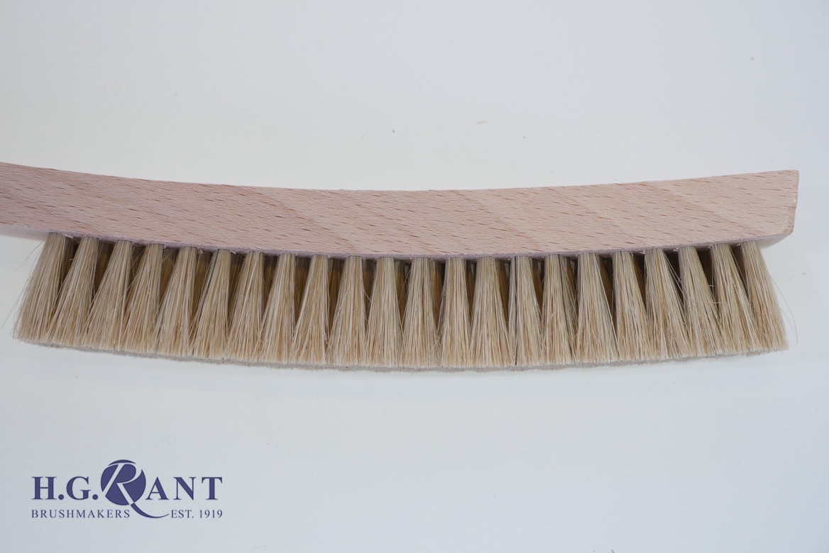 White Bristle Platers Brush with Curved handle 4-row